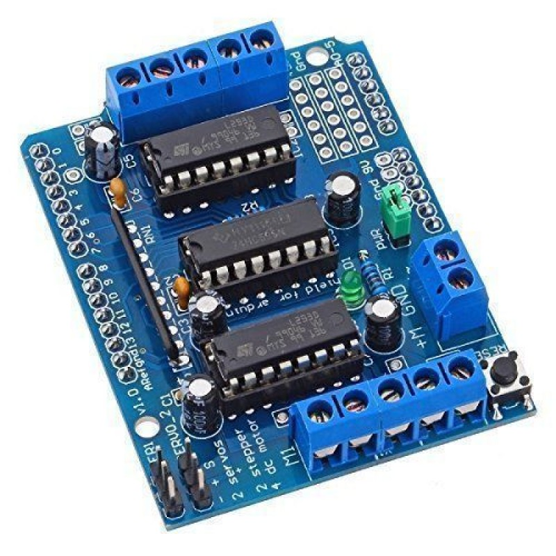 L293d arduino motor drive shield for servo stepper and dc for Arduino servo motor shield