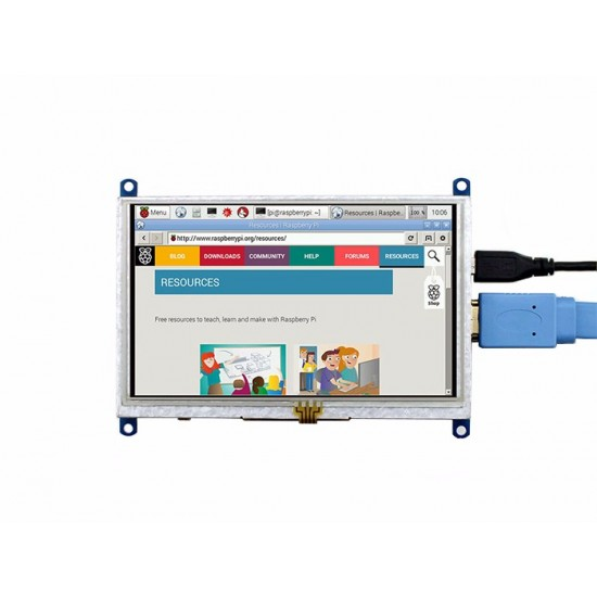 Raspberry Pi HDMI 5 Inch LCD Monitor with Touchscreen (800x480)